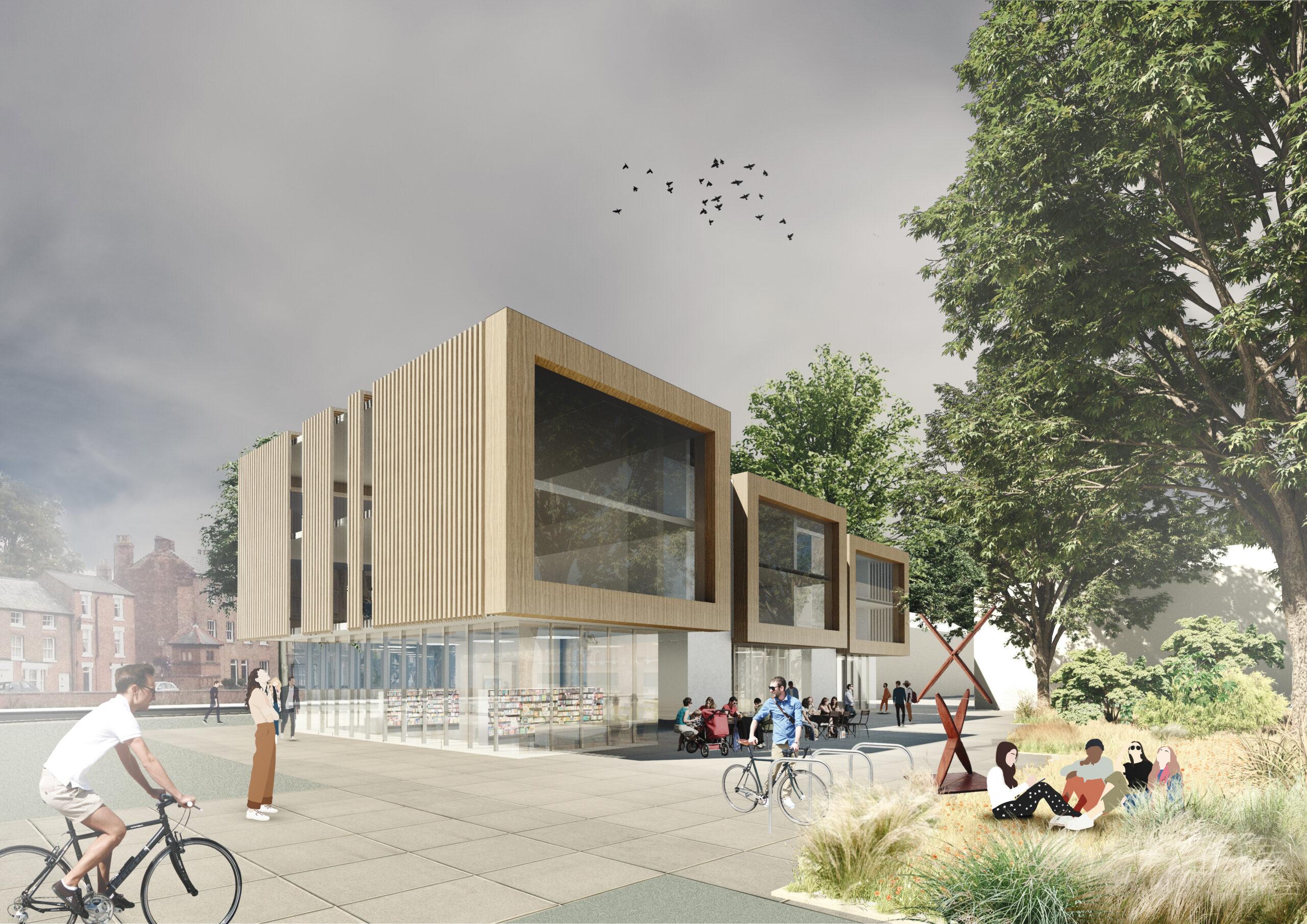 New build flats, shops, public square